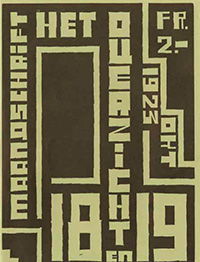 Jos Leonard, Omslagillustratie 'Plastiese Dmslagteekening', in: Het Ooerzicht, [[(1923), nr. 18-19